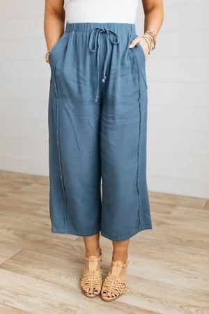sku19022 | Linen Fray Edge Drawstring Pants