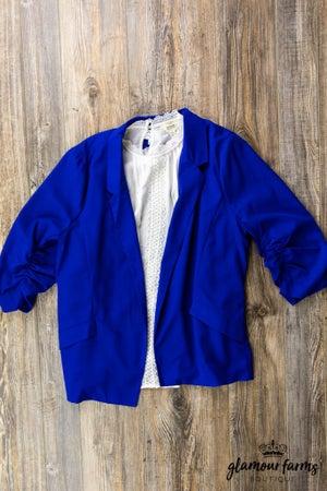 sku13150   Ruched Sleeve Blazer