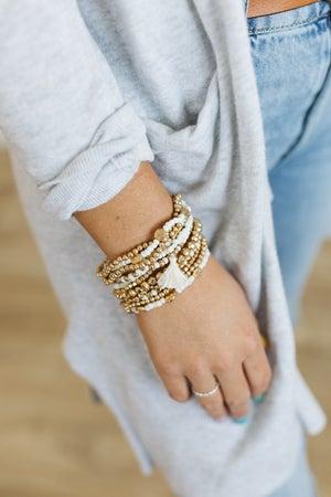 sku20773   Bead And Tassel Bracelet Set