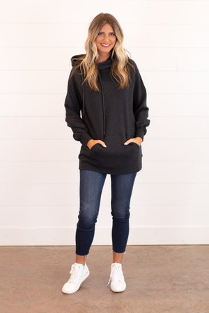 sku16004 | Side Tie Hooded Tunic Sweatshirt