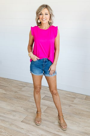 sku19293 | **Daily Deal** Ruffled Sleeve Tank