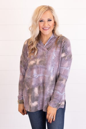 sku16338 | Tie Dyed Shawl Collared Top