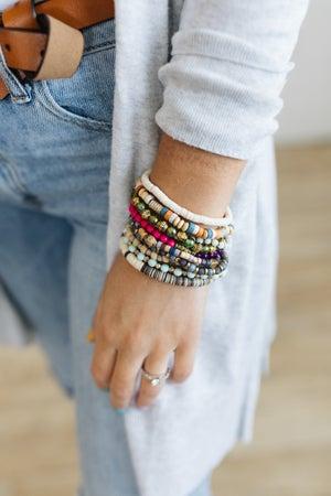 sku20779   Mixed Bead And Tassel Bracelet Set