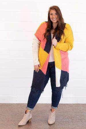 sku14411 | Color Block Sweater Cardigan