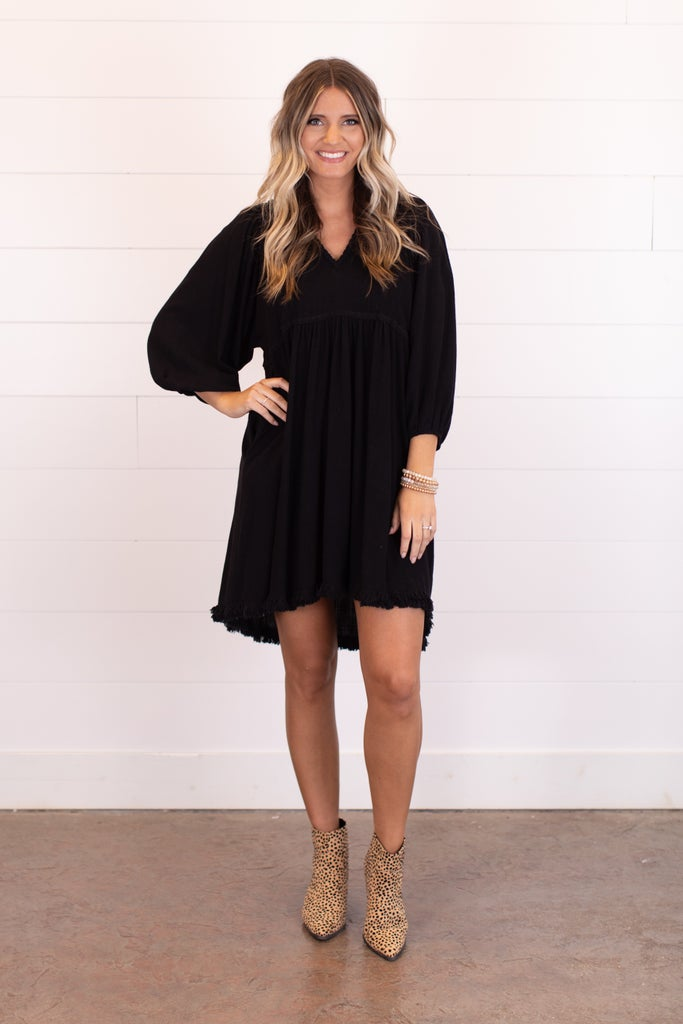 sku17142 | Frayed Trim Babydoll Dress