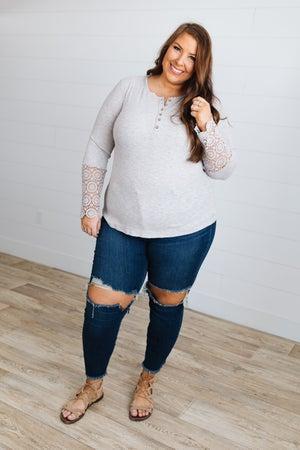 sku18663   Crocheted Sleeve Top