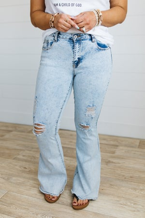 sku20169   Distressed Frayed Flared Jeans