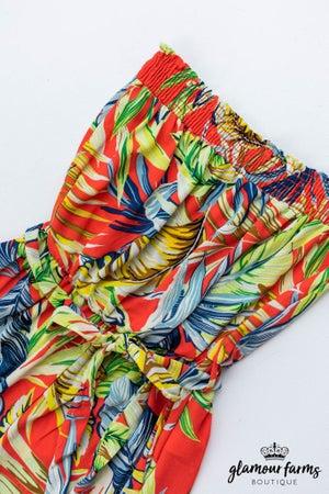 sku13196 | Botanical Print Wide Leg Jumpsuit