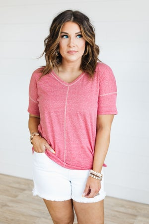 sku20184 | **Daily Deal** Heathered Knit Top Stitch Tee