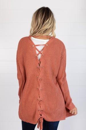 sku14339 | **Daily Deal** Lace-Up Back Sweater Cardigan