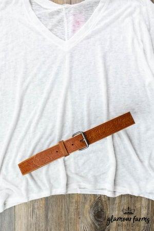 sku12824   Floral Embossed Leather Belt