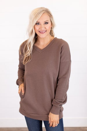 sku16005 | **Daily Deal** V-Neck Tunic Sweatshirt
