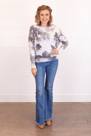 sku17664 | Floral Dolman Sleeve Top