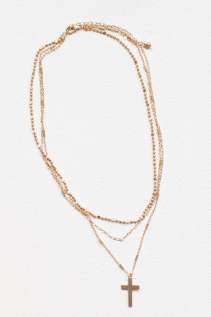 sku17347   Cross Pendant Layered Necklace
