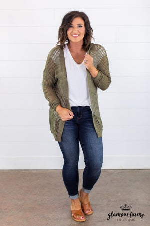 sku15103 | **Daily Deal** Open Knit Hooded Cardigan