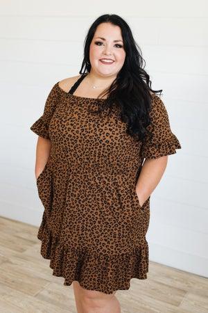 sku20838 | Animal Print Off Shoulder Dress