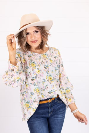 sku17233   Smocked Floral Top