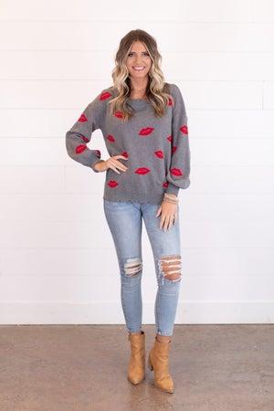 sku15491 | Distressed Lip Print Sweater
