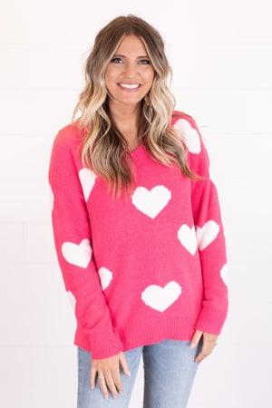sku15455 | Heart Print Knit Sweater