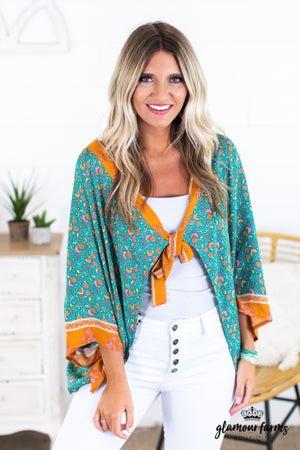 sku14051 | Floral Front Tie Kimono