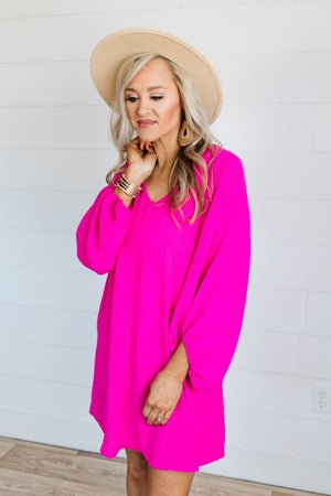 sku18473 | Crepe Knit Draped Sleeve Dress