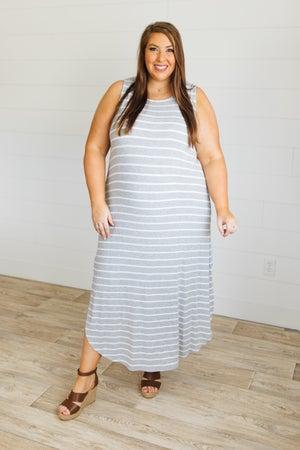 sku20554 | **Daily Deal** Striped Side Slit Maxi Dress