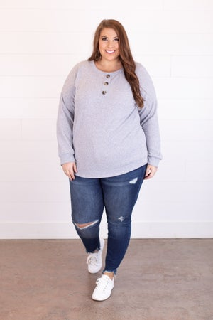 sku18081 | Heathered Knit Henley Top