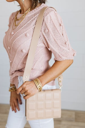 sku19332 | Quilted Wide Strap Crossbody Bag