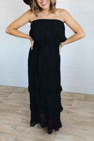 sku20133 | Strapless Ruffled Maxi Dress