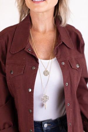 sku17357 | Clover And Arrowhead Necklace