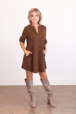 sku17639 | Animal Print Tab Sleeve Dress