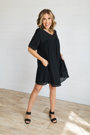 sku19911 | Lined Crinkle Knit Babydoll Dress