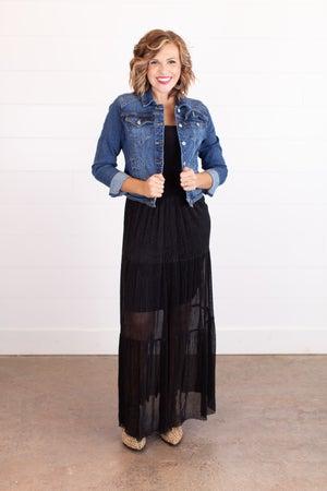 sku16904 | Metallic Tiered Maxi Skirt