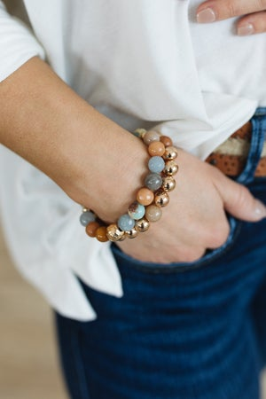 sku20781   Stone And Metal Beaded Bracelet Set