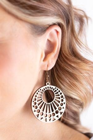 sku18008 | Laser Cut Round Wood Earrings