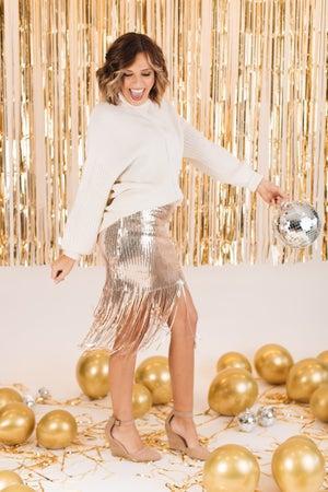 sku15715   Sequin Fringe Skirt