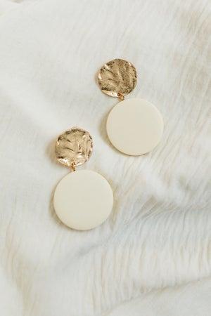 sku20713 | Metal And Clay Disc Dangle Earrings