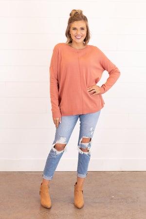 sku16255   Butter Soft Front Seam Sweater