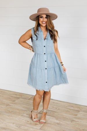 sku18954 | Mineral Washed Tiered Dress