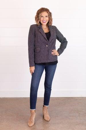 sku15415 | Metallic Tweed Blazer