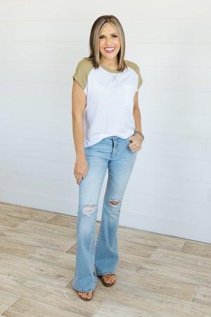 sku20616   KanCan Distressed High Rise Flared Jeans