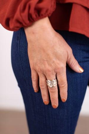 sku17374   Multi Textured Row Ring