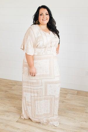 sku21382 | Paisley Patchwork Surplice Maxi Dress