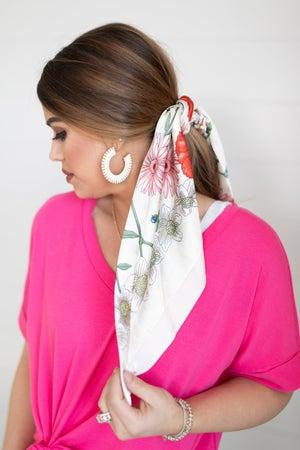 sku18613 | Floral Dual Scrunchie Scarf