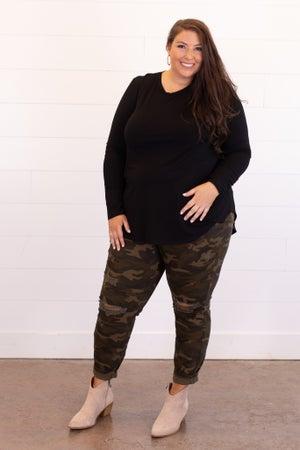 sku14494   Distressed Camo Skinny Jean