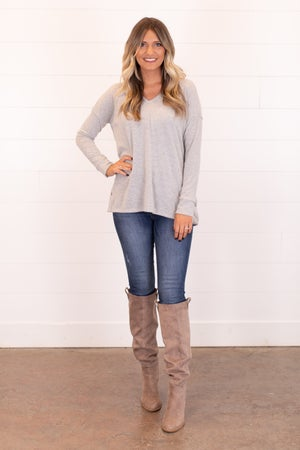 sku16971 | Heathered Knit Side Button Tunic