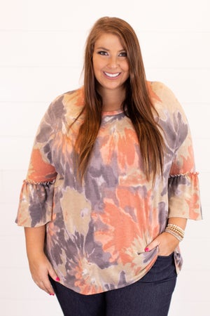 sku16440 | Tie Dyed Ruffle Sleeve Top