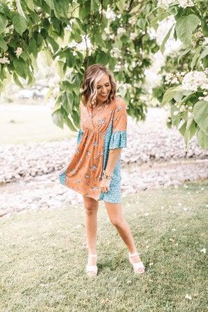 sku21381 | Mixed Floral Babydoll Dress