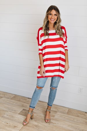 sku19508 | **Daily Deal** Striped Side Pocket Tunic