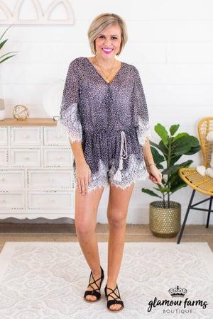 sku11888 | Animal Print Lace Romper